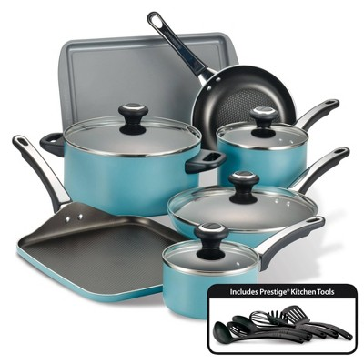 Farberware High Performance 17pc Aluminum Nonstick Cookware Set Aqua