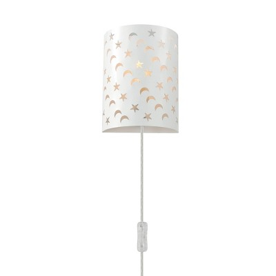 Luna 1-Light Matte White Stars and Moons Plug-In Wall Sconce - Novogratz x Globe