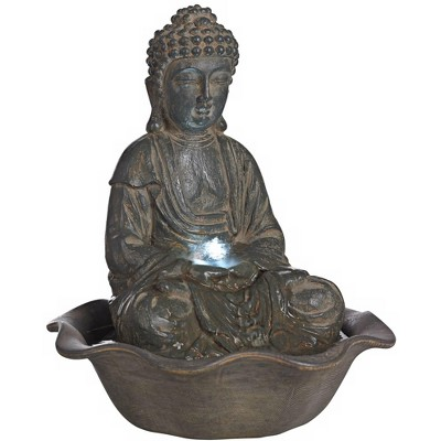 """John Timberland Asian Zen Buddha Outdoor Water Fountain with Light LED 12"""" High Sitting for Table Desk Yard Garden Patio Home"""