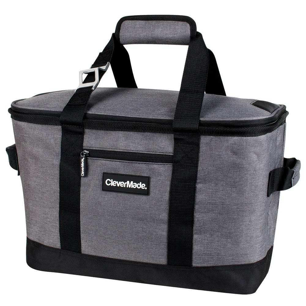 Image of CleverMade SnapBasket 50 Can Soft-Sided Collapsible Cooler - Heather Charcoal/Black