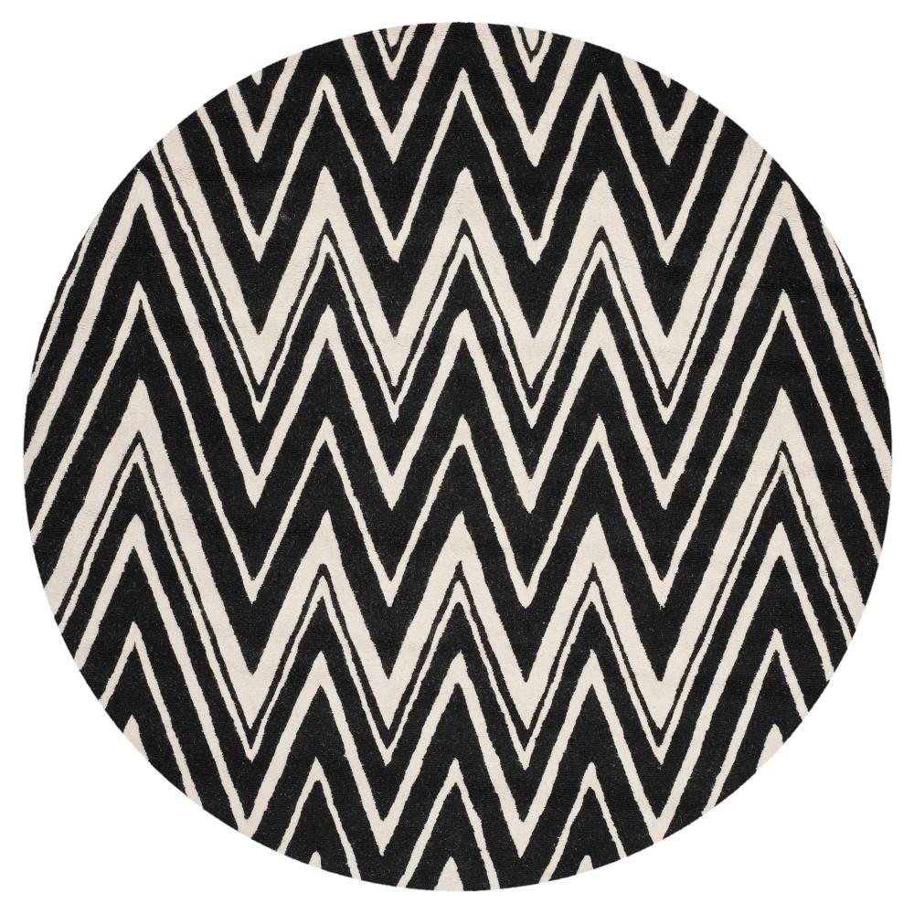Burton Textured Area Rug - Black/Ivory (6'x6' Round) - Safavieh