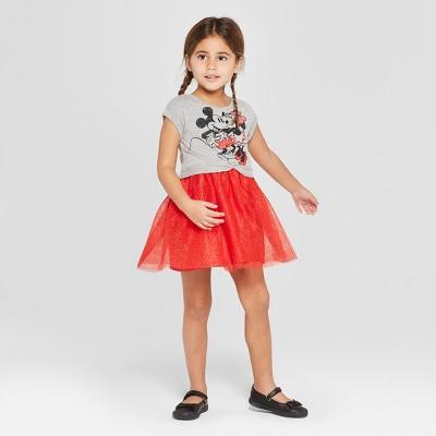 Toddler Girls' Disney Minnie Mouse Valentine's Day Dress - Gray 12M