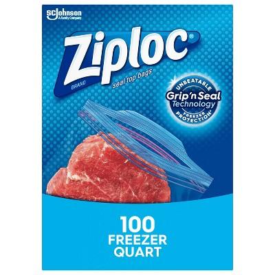 Ziploc Freezer Quart Bags with Grip 'n Seal Technology - 100ct