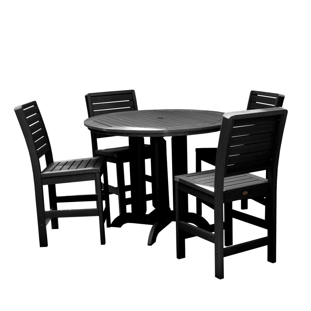 Image of 5pc Weatherly Round Counter Patio Dining Set Black - highwood