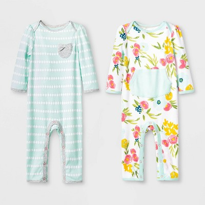 Baby Girls' 2pk Floral Fields Rompers - Cloud Island™ Mint Green 0-3M