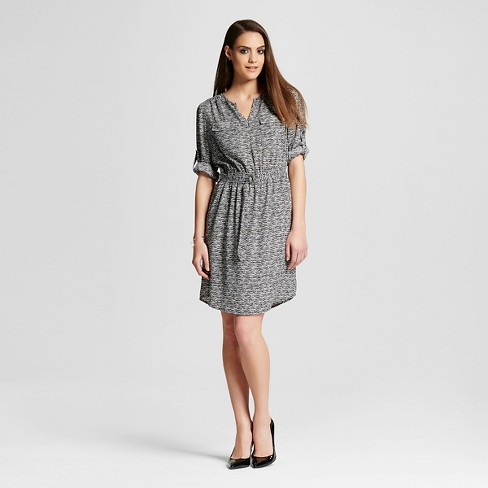 Women's Convertible Sleeve Dress Black Print S - Mossimo™ - image 1 of 2