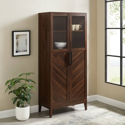 "68"" Boho Modern Fusion Tall Liquor Cabinet Metal and Wood Dark Walnut - Saracina Home"