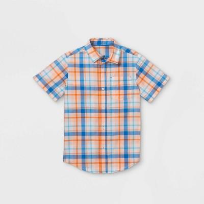 Boys' Plaid Button-Down Short Sleeve Shirt - Cat & Jack™ Orange/Blue