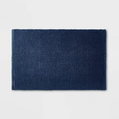 """21""""x34"""" Textured Bath Mat Blue - Casaluna™"""