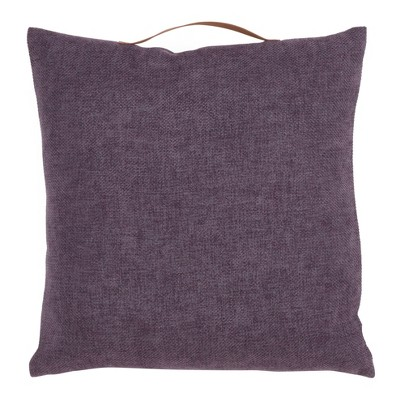 """18""""x18"""" Chenille Pillow with Handle Poly Filled Square Throw Pillow - Saro Lifestyle"""