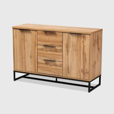 Reid Wood & Metal 3 Drawer Sideboard Buffet Oak/Black - Baxton Studio