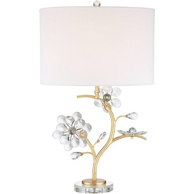 Possini Euro Design Modern Table Lamp Branching Gold Metal Crystal Flower Neutral Oval Shade for Living Room Bedroom Nightstand