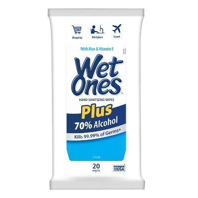 Wet Ones Plus Alcohol Wipes - 20ct