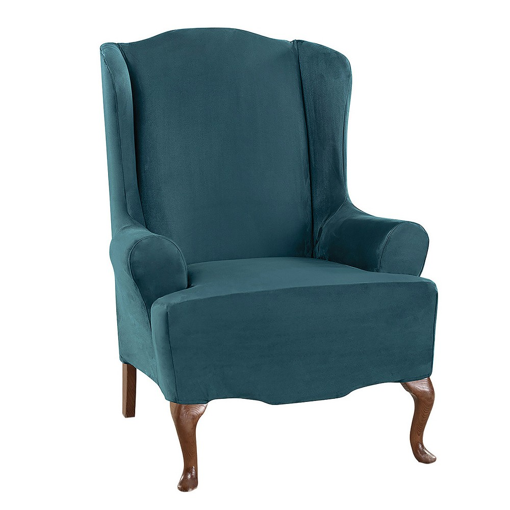 Ultimate Stretch Suede Wing Chair Slipcover Peacock Blue - Sure Fit