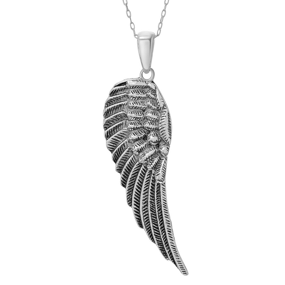Women's Journee Collection X-Large Angel Wing Pendant Necklace in Sterling Silver - Silver (18), Size: XL