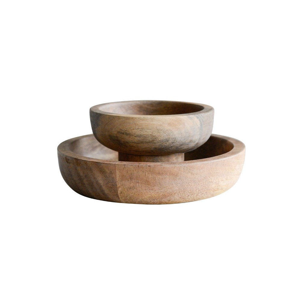Decorative Tiered Bowl Wood - Brown - 3R Studios