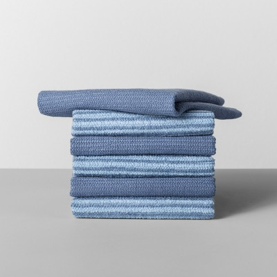 6pk Striped Dishcloth Blue - Made By Design™