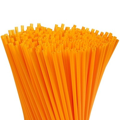Juvale 300-Pack Plastic Orange Disposable Party Drinking Straws, Extra Long Size, 10 Inches