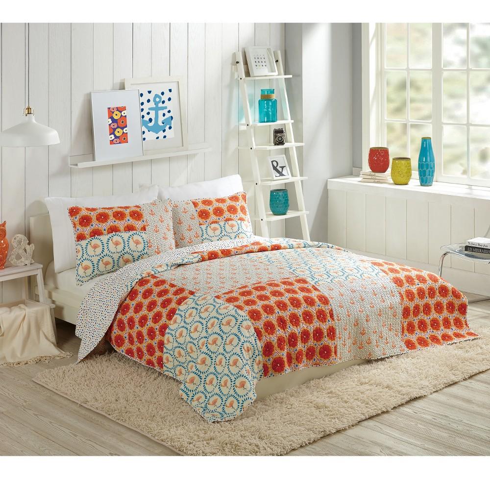 Image of 3pc Full/Queen Flamingo Citrus Quilt Set Orange - Bouffants & Broken Hearts For Makers Collective