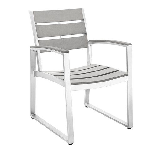 Aluminum/Wood All Weather Patio Dining Chairs - Set of 2 - Gray - Saracina Home - image 1 of 3