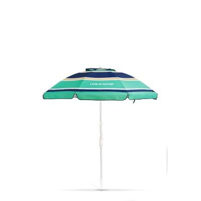 Outdoor Beach Umbrella with Silver Frame & Green Sun - Life is Good