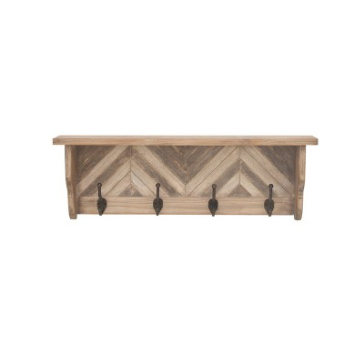 "32"" Farmhouse 4 Hook Chevron Wood and Metal Shelf - Olivia & May"