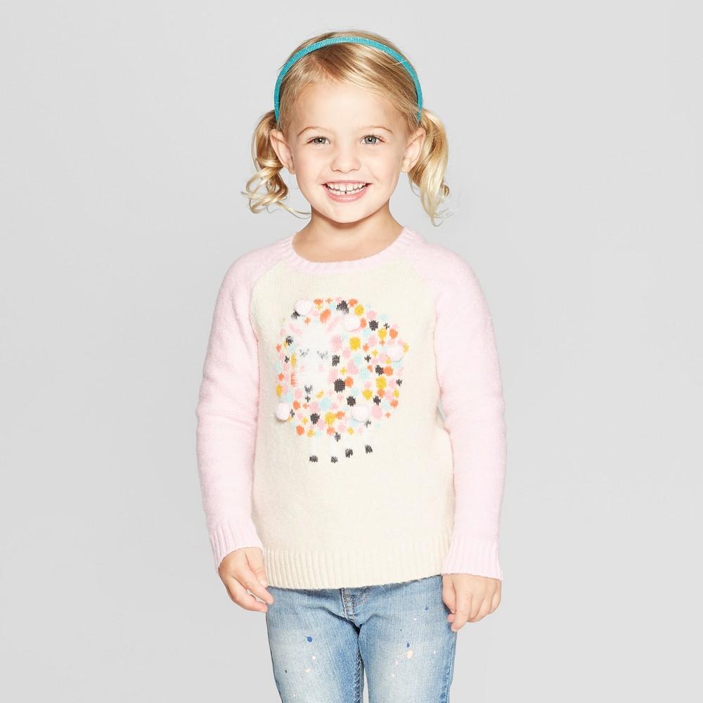 Toddler Girls' Sheep Pullover Sweater - Cat & Jack Beige/Pink 18M, Brown