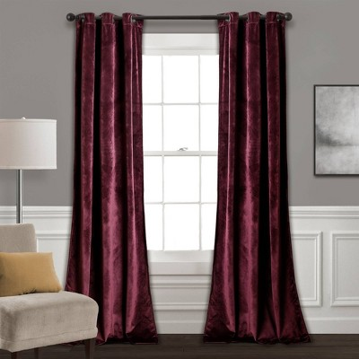 "Set of 2 84""x38"" Prima Velvet Room Darkening Window Curtain Panels Wine - Lush Décor"