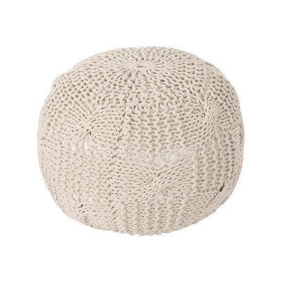 Anouk Knitted Cotton Pouf Beige - Christopher Knight Home