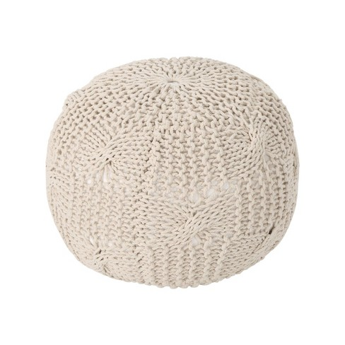 Anouk Knitted Cotton Pouf - Christopher Knight Home - image 1 of 4