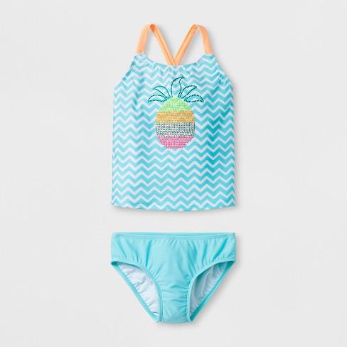 ddd7cc58a Girls' Sparkle Pineapple Tankini Set- Cat & Jack™ Blue XS : Target