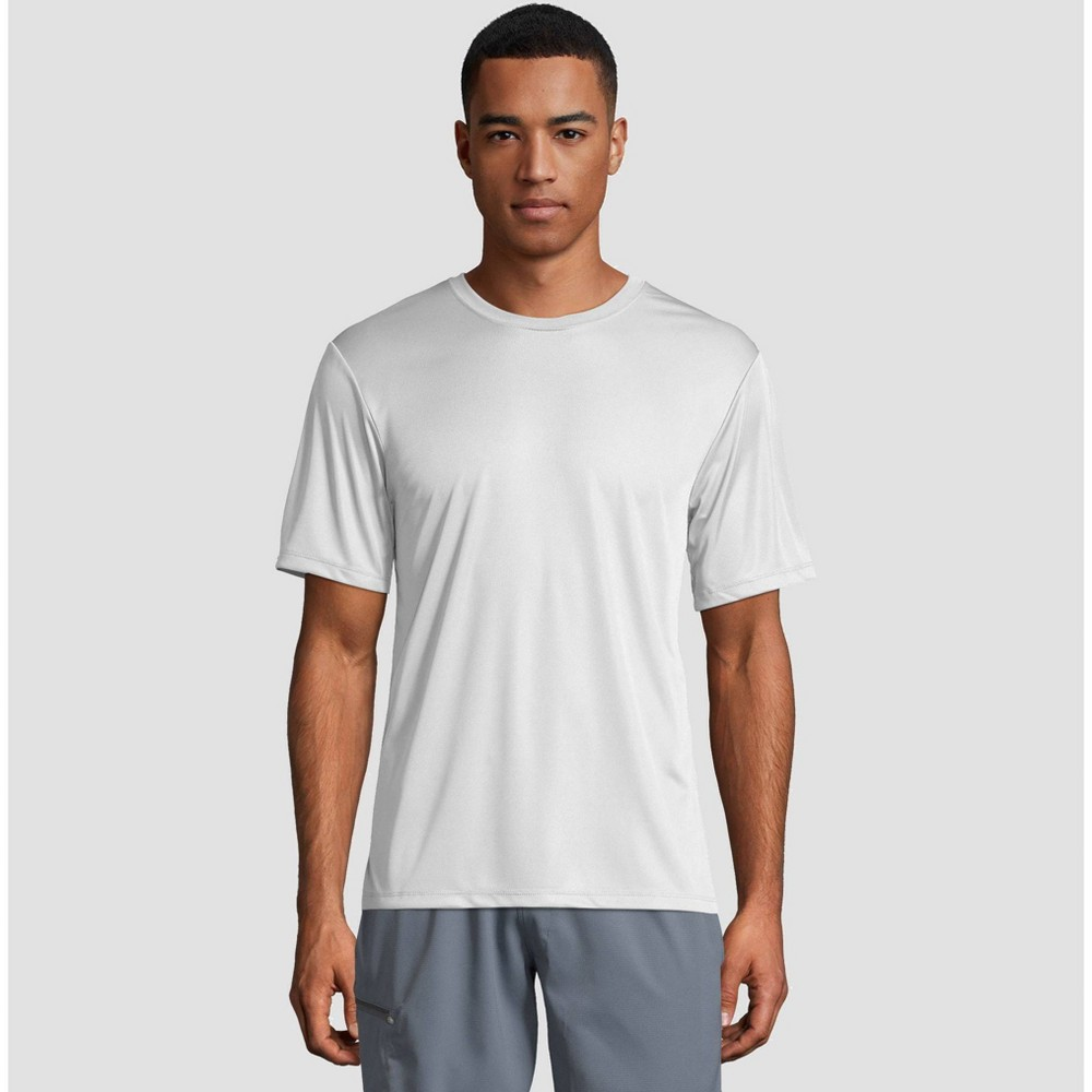 bacfb519 Hanes Mens Short Sleeve CoolDRI Performance T Shirt White 2XL White