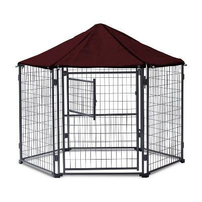 NeoCraft 60101 My Pet Companion Outdoor and Indoor 5.5 Feet Dog Kennel with Canopy for Large Breed Dogs, Maroon