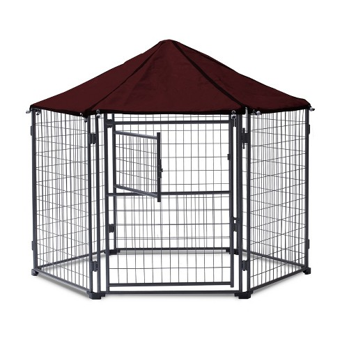 NeoCraft 60101 My Pet Companion Outdoor and Indoor 5.5 Feet Dog Kennel with Canopy for Large Breed Dogs, Maroon - image 1 of 4