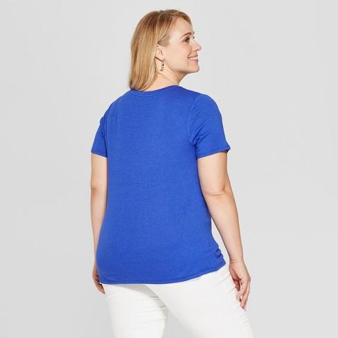 bbcf8d8eec5 Women s Plus Size Short Sleeve Crew Neck T-Shirt - Ava   Viv™ Blue 3X    Target