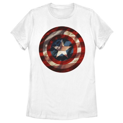 Women's Marvel Captain America Avengers Shield Flag T-Shirt