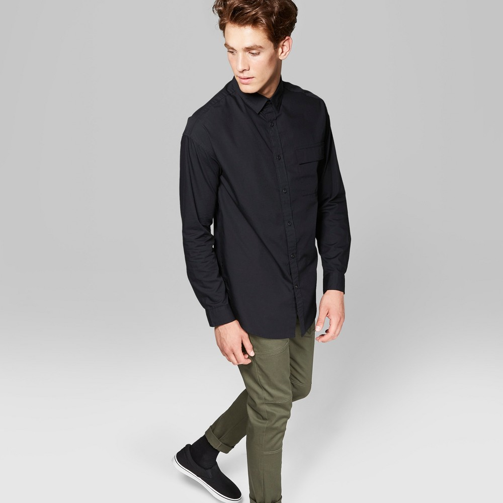Men's Long Sleeve Long Line Button-Down Shirt - Original Use Black M