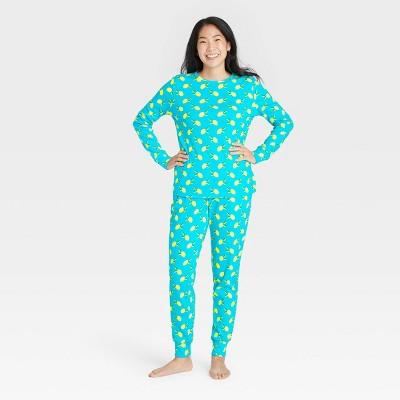 Women's Lemon Print 100% Cotton Matching Family Pajama Set - Blue