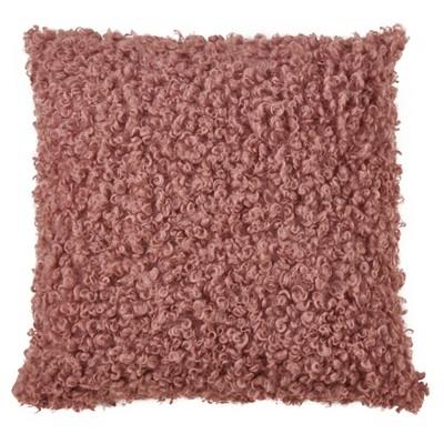 "18"" Faux Lamb Fur Pillow Cover Dusty Rose - SARO Lifestyle"
