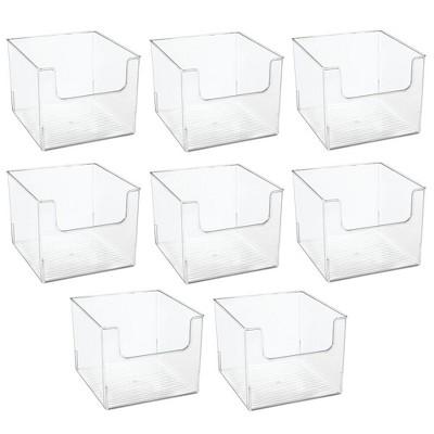 mDesign Plastic Bathroom Storage Organizer Basket Bin, 8 Pack - Clear