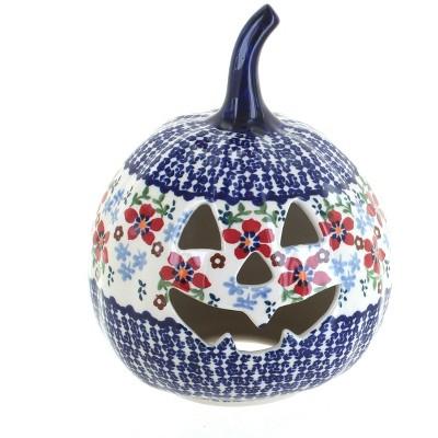 Blue Rose Polish Pottery Red Poppy Small Pumpkin