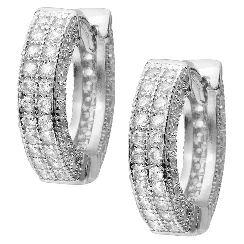 1 3/5 CT. T.W. Round Cut Cubic Zirconia Pave Set Hoop Earrings - Silver - image 1 of 2