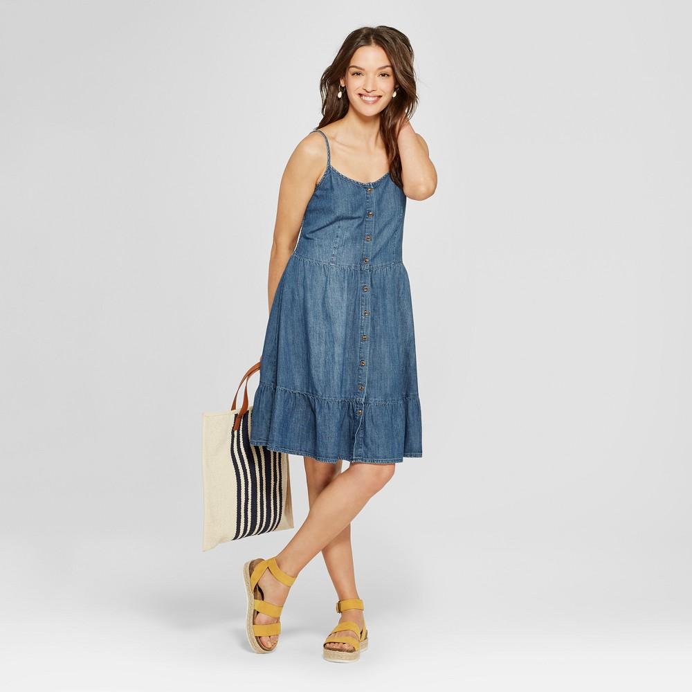 Women's Tiered Denim Dress - Universal Thread Blue XL