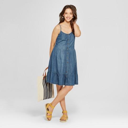 81e2402731e0c Women's Tiered Denim Dress - Universal Thread™ Blue : Target