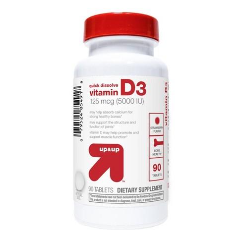 Vitamin D 5000iu Quick Dissolve - 90ct - Up&Up™ - image 1 of 3