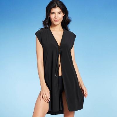 Women's Tie-Front Swim Cover Up - Aqua Green® Black