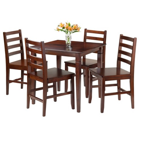 5 Piece Kingsgate Set Dining Table With Ladder Back Chairs Wood Walnut Winsome Target