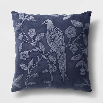 Square Pheasant Velvet Throw Pillow Navy - Threshold™
