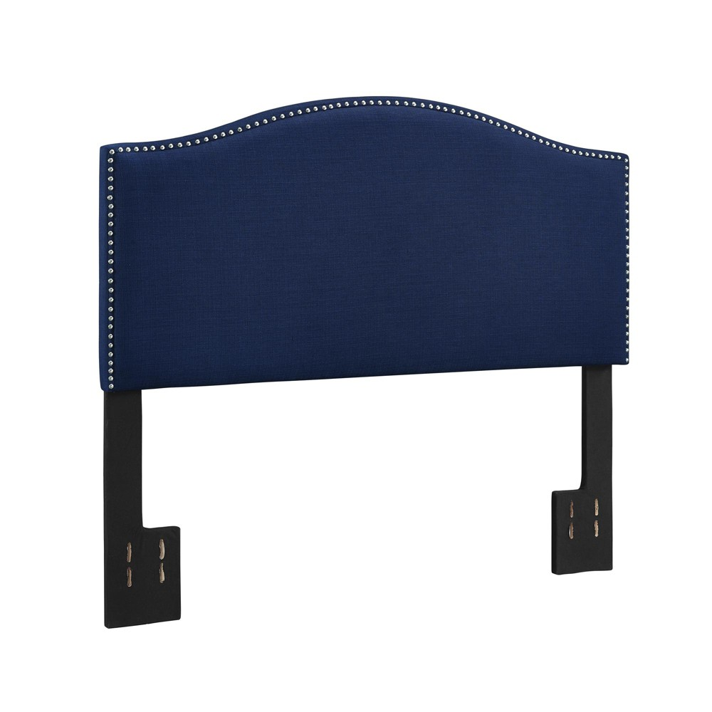 Full/Queen Brinley Linen Headboard with Nailheads Navy (Blue) - Dorel Living