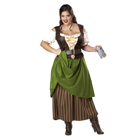 Women's Plus Size Tavern Maiden Costume Green/Brown - image 1 of 1